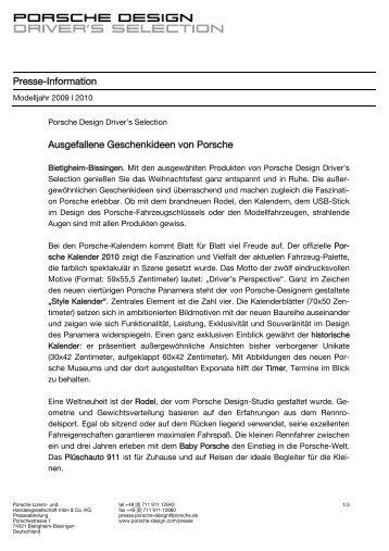 Presse-Information Ausgefallene Geschenkideen von Porsche