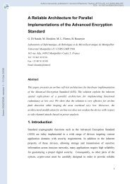 A Reliable Architecture for Parallel Implementations of the Advanced ...