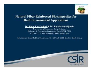 Natural Fiber Reinforced Biocomposites for Built ... - Alive2green