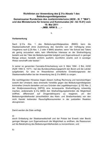 Richtlinien zur Anwendung des § 31a Absatz 1 des ... - Partypack.de