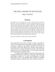 THE EARLY HISTORY OF THE PSALTER - Tyndale House