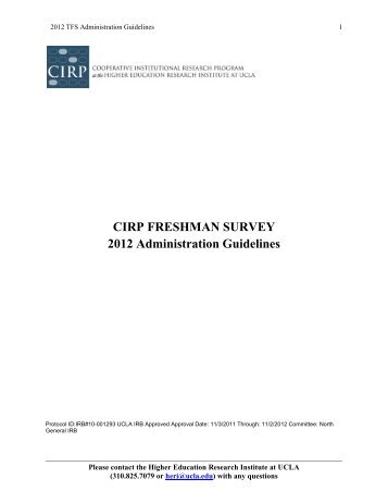 CIRP FRESHMAN SURVEY 2012 Administration Guidelines