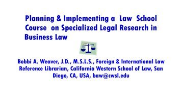 Planning & Implementing a Law School Course on Specialized ...