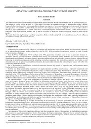 Impacts of Agricultural Policies in Iran on Food Security