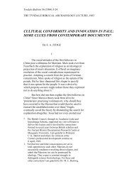 cultural conformity and innovation in paul - Tyndale House