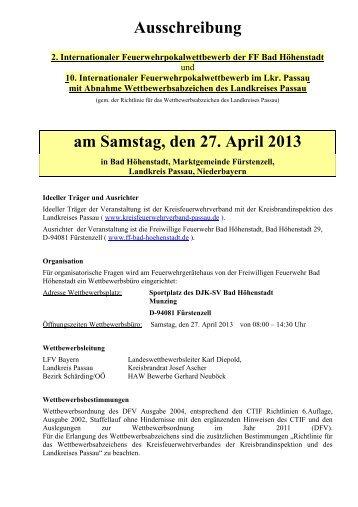 Ausschreibung - Freiwillige Feuerwehr Bad Höhenstadt