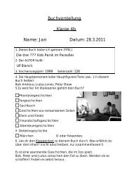 Name: Jan Buchvorstellung Klasse 4b Datum: 28.3.2011 28.3.2011