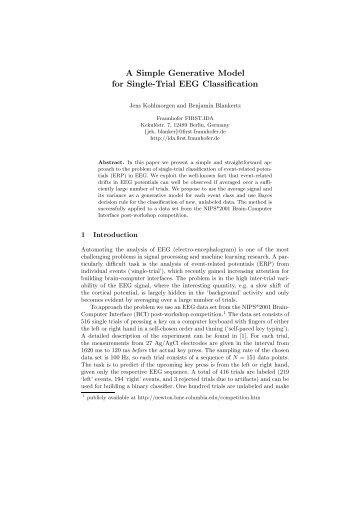 A Simple Generative Model for Single-Trial EEG ... - Publications