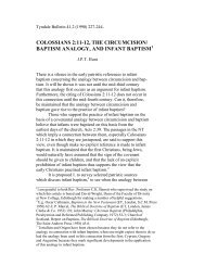 colossians 2:11-12, the circumcision/ baptism ... - Tyndale House
