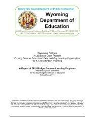 2010 Bridges Summer School Report - Wyoming Department of ...