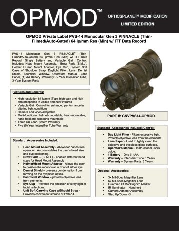 OPMOD Private Label PVS-14 Monocular Gen 3 ... - OpticsPlanet.com