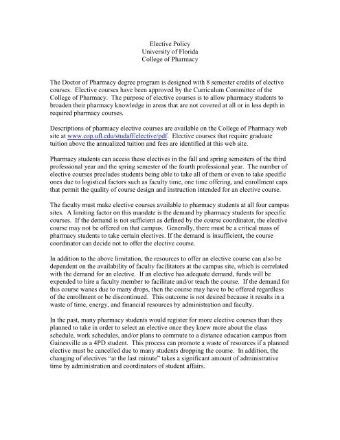 Elective Policy.pdf - College of Pharmacy - University of Florida
