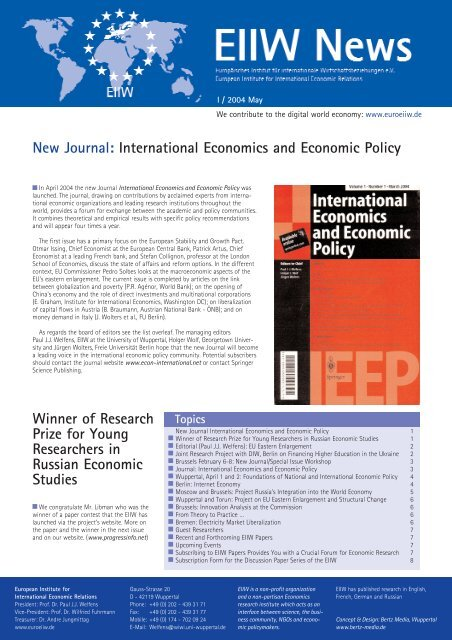 New Journal: International Economics and Economic Policy - EIIW