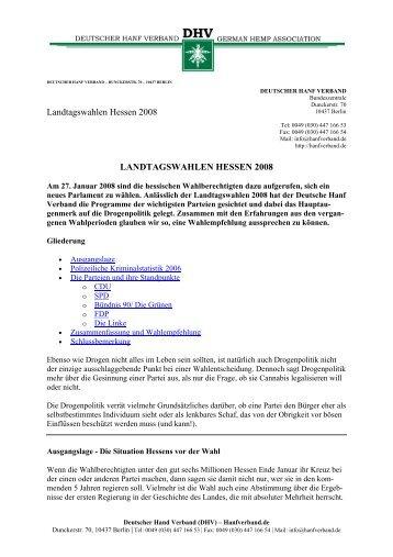 Landtagswahlen Januar 2008 in Hessen - des Deutschen Hanf ...