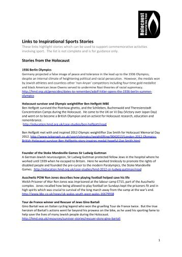 Links to Inspirational Sports Stories - Holocaust Memorial Day Trust