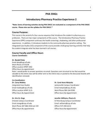 PHA 5942c - College of Pharmacy