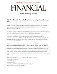 EIB: The Marseille Center for Mediterranean Integration is ... - CMI