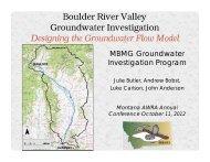 Julie Ahern Butler. Boulder River Valley Groundwater Investigation