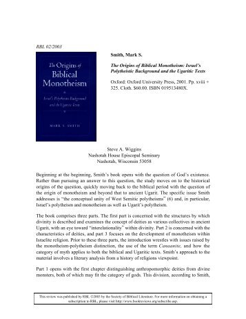 The Origins of Biblical Monotheism - Review of Biblical Literature