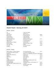 Aktuelle Playlist – Samstag, 22.10.2011