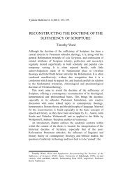RECONSTRUCTING THE DOCTRINE OF THE ... - Tyndale House