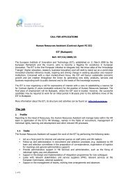 vacancy notice - European Institute of Innovation and Technology
