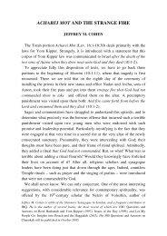 ACHAREI MOT AND THE STRANGE FIRE - Jewish Bible Quarterly