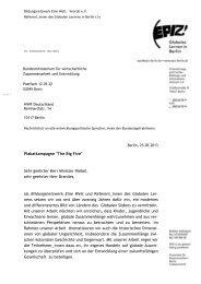 Offener Brief des EPIZ an Entwicklungsminister Niebel im Wortlaut