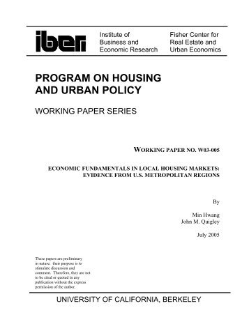 t - Berkeley Program on Housing and Urban Policy - University of ...