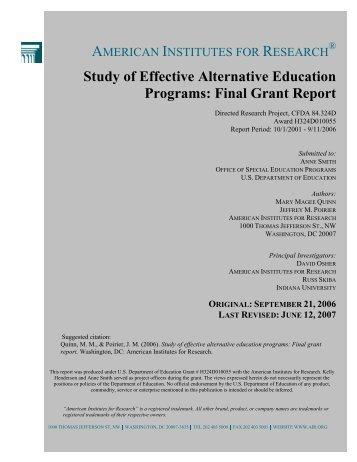 Study of Effective Alternative Education Programs - Center for ...