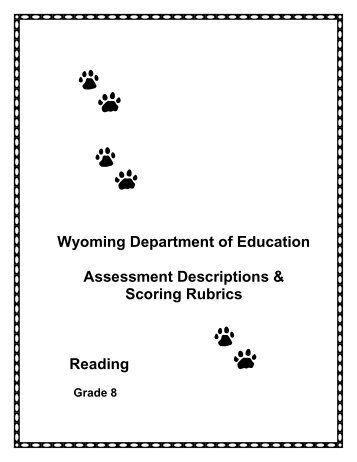 Reading Assessment Descriptions-Rubrics Grade 8 - Wyoming ...