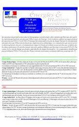 Prix du gaz et de l'électricité en Europe au 1er juillet 2005 - Costkiller