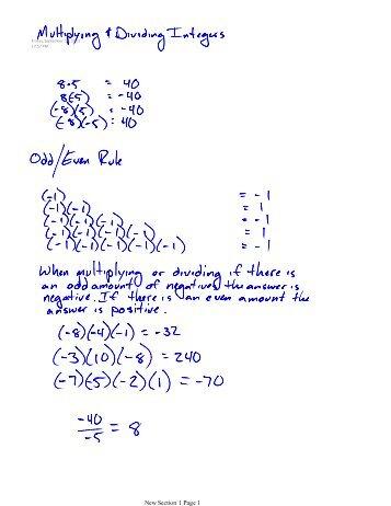 Multiplying Dividing Integers Worksheet Pdf - multiplying and ...