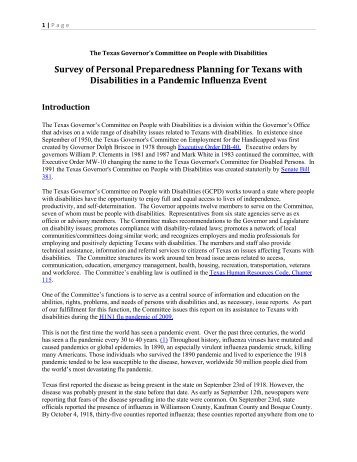 Report on GCPD H1N1 Survey Personal Preparedness Planning for ...
