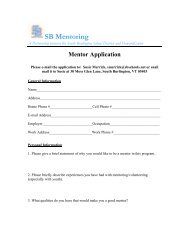 SB Mentoring -- Mentor Application-1 - South Burlington School District