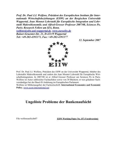 Ungelöste Probleme der Bankenaufsicht - EIIW