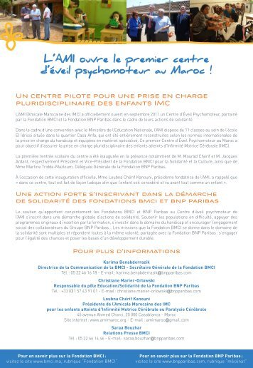 L'AMI ouvre le premier centre d'éveil psychomoteur ... - BNP Paribas