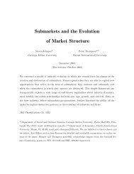 Submarkets and the Evolution of Market Structure - College of Arts ...