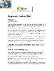 Desperately Seeking SEO - Pam Baker
