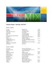 Aktuelle Playlist – Samstag, 10.09.2011