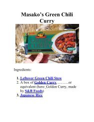 Masako's Green Chili Curry - The Geriatric Gourmet