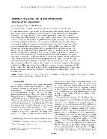 Infiltration on alluvial fans in arid environments - Jon D. Pelletier ...