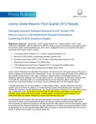Liberty Global Reports Third Quarter 2012 Results
