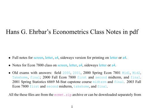 Hans G  Ehrbar's Econometrics Class Notes in pdf