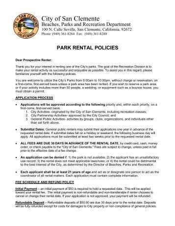 Park Rental Packet - City of San Clemente