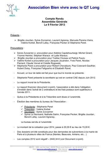 Compte-rendu Assemblée Générale 9 février 2013