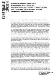 WOLFGANG TILLMANS «NEUE WELT» 1. SEPTEMBER – 4 ...