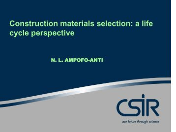 Construction materials selection: a life cycle perspective - Alive2green
