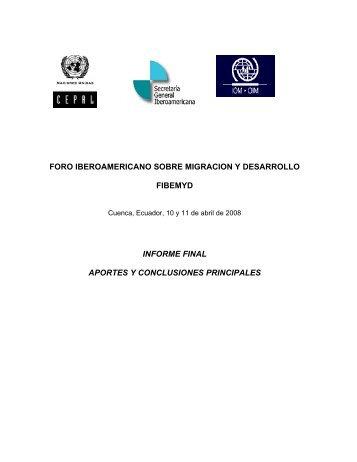 foro iberoamericano sobre migracion y desarrollo fibemyd ... - Segib