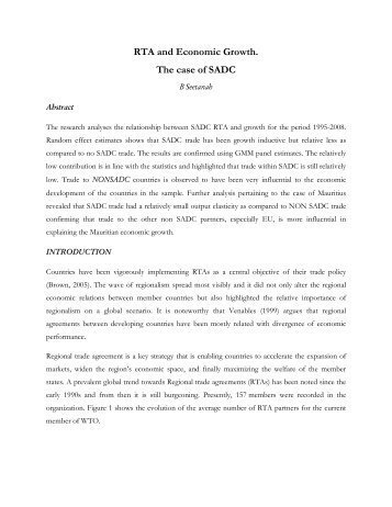 RTA and Economic Growth. The case of SADC - DAAD partnership ...